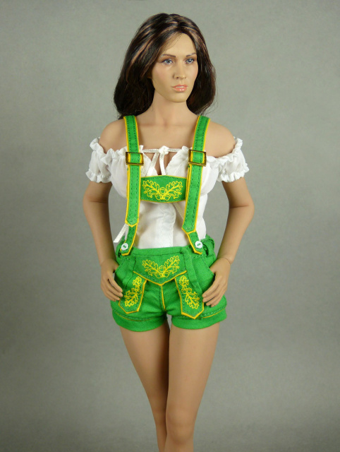 Flirty Girl 1/6 Scale Female White Blouse & Green Shorts Lederhosen Uniform Set