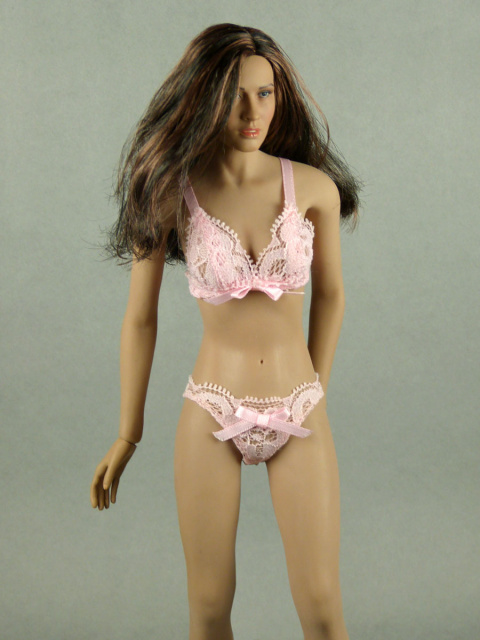 Hot Plus 1/6 Scale Female Intimate Pink Lace Bra & Panty Set Image 1