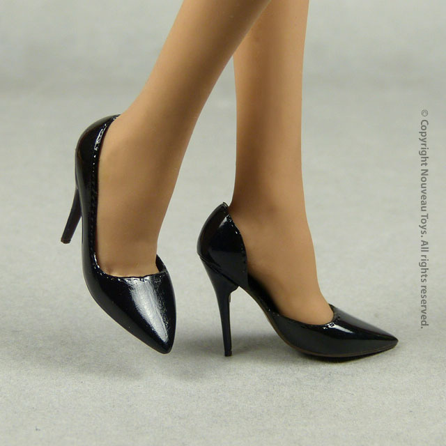 Pop Toys 1/6 Shoes Series - 1/6 Scale Female Glossy Sharp Black Heel Shoes 3