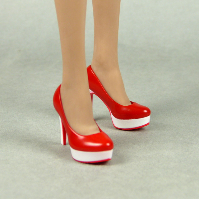 Magic Cube Toys 1/6 Scale Female Red & White Glossy High Heel Shoes