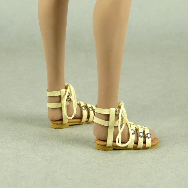 Nouveau Toys 1/6 Shoes Series - 1/6 Scale Female Beige Gladiator Leather Strap Sandal Shoes