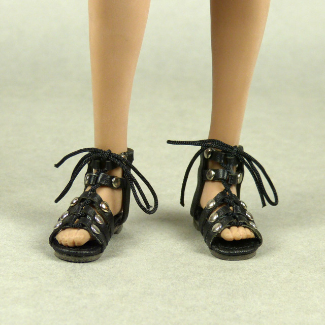 Nouveau Toys 1/6 Shoes Series - 1/6 Scale Female Black Gladiator Leather Strap Sandal Shoes