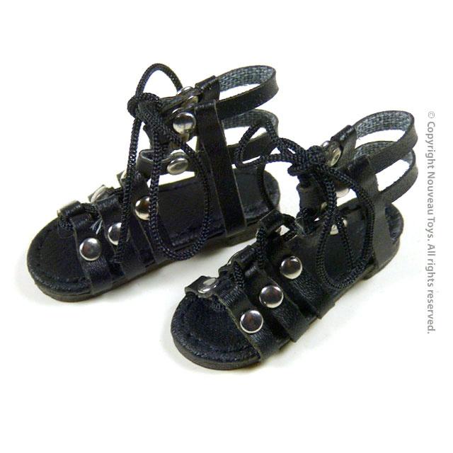 ff0c518e9ae772 1 6 Scale Female Black Gladiator Leather Strap Sandal Shoes