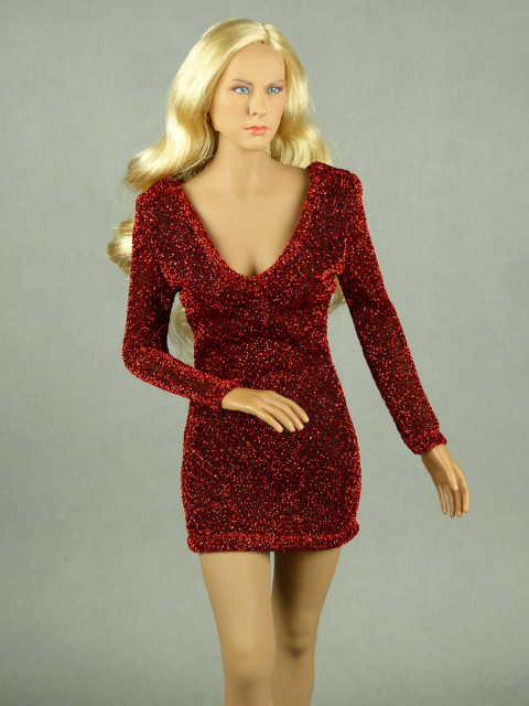 Nouveau Toys 1/6 Scale Female Red Glitter Mini Party Dress