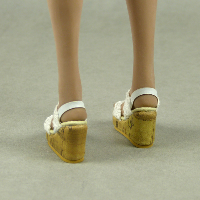 Nouveau Toys 1/6 Shoes Series - White Lace Wedge Sling Back Shoes