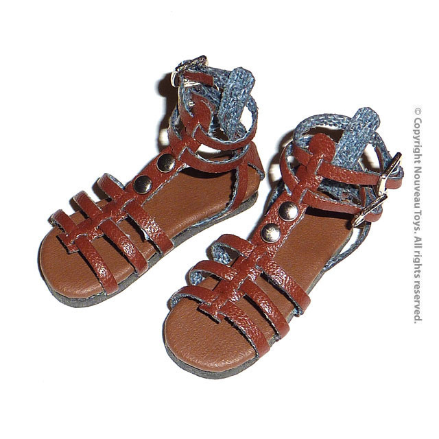 fc2a02d803feb9 Nouveau Toys 1 6 Shoes Series - 1 6 Scale Brown Gladiator Strap Sandals