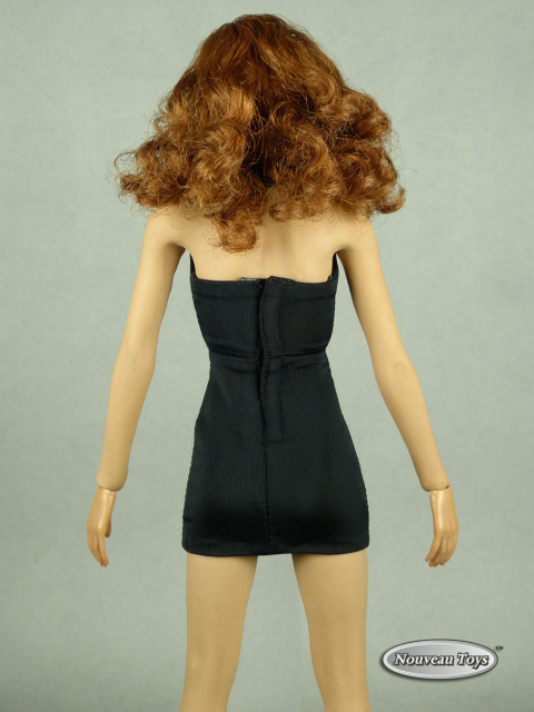 Pop Toys 1/6 Scale Female Black V-Neck Sheath Mini Dress