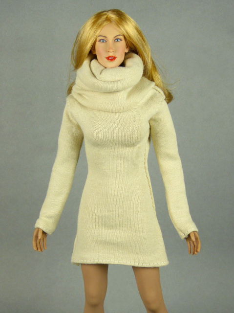 Vogue 1/6 Scale Female High Fashion Beige Turtle Neck Dress 1
