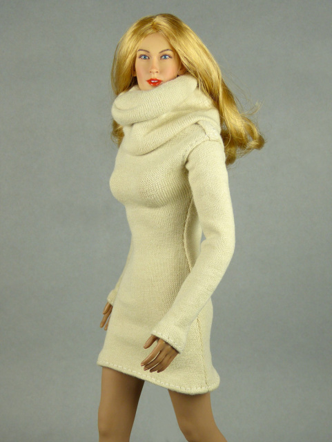 Vogue 1/6 Scale Female High Fashion Beige Turtle Neck Dress 2
