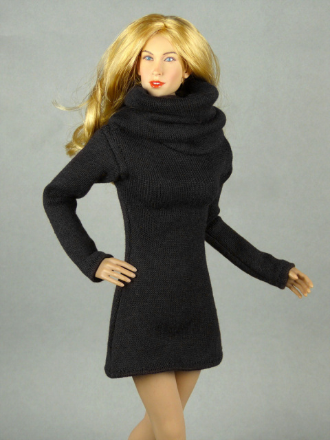 Vogue 1/6 Scale Female High Fashion Black Turtle Neck Dress 1