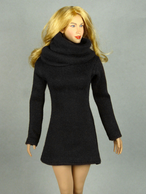 Vogue 1/6 Scale Female High Fashion Black Turtle Neck Dress 2