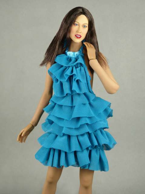 Vogue 1/6 Scale Female Fashion Aqua Blue Layered Lace Party Dress 1