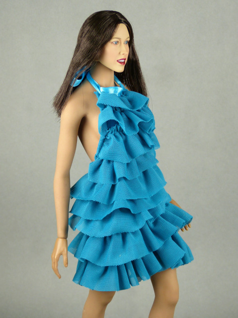 Vogue 1/6 Scale Female Fashion Aqua Blue Layered Lace Party Dress 2