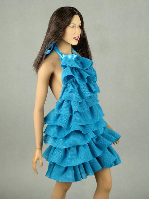 1 6 Scale Vogue Female Fashion Aqua Blue Layered Lace
