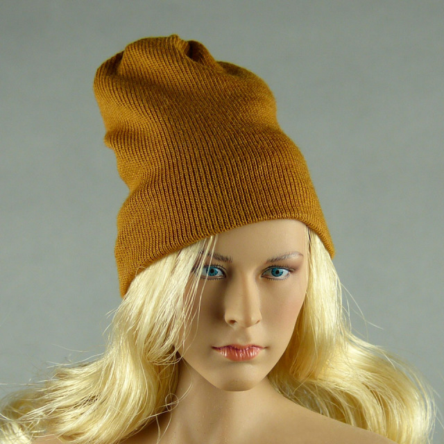 Vogue 1/6 Scale Female Fashion Light Brown Knit Beanie Hat Image 1