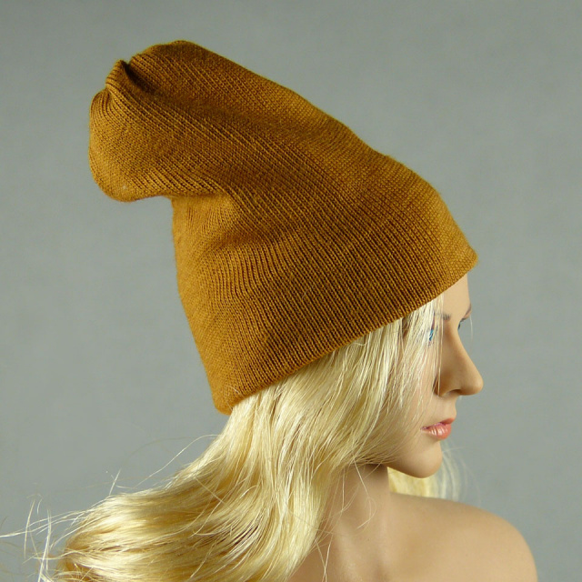 Vogue 1/6 Scale Female Fashion Light Brown Knit Beanie Hat Image 2