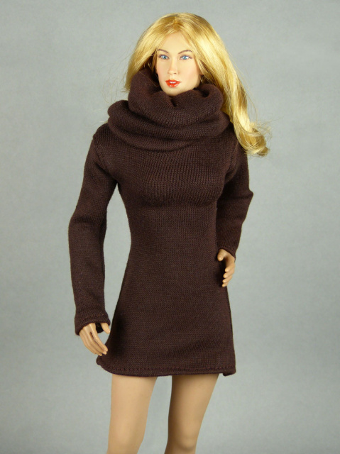 Vogue 1/6 Scale Female High Fashion Brown Turtle Neck Dress 1