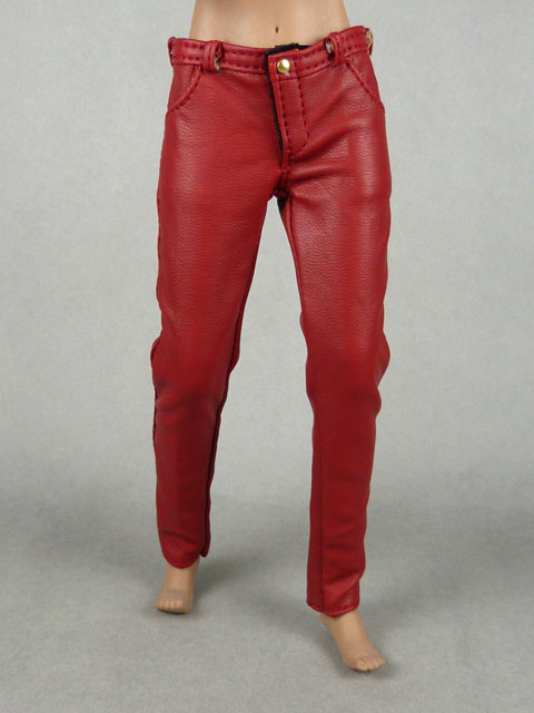 Vogue 1/6 Scale Female Burgundy Red Slim-Fit Leather Pants Image 1