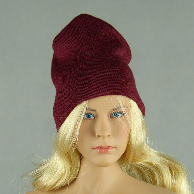 Vogue 1/6 Scale Female Fashion Burgundy Red Knit Beanie Hat Image 1