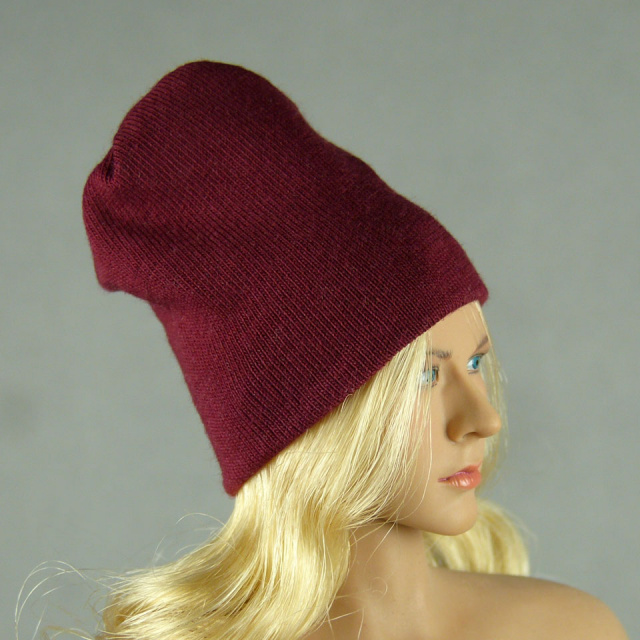 Vogue 1/6 Scale Female Fashion Burgundy Red Knit Beanie Hat Image 2