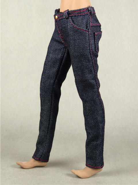 Vogue 1/6 Scale Female Navy Slim Fit Denim Jean Pants Image 1