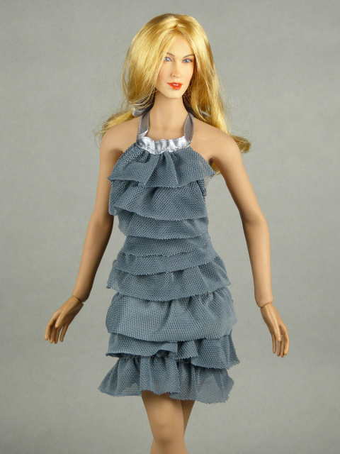 Vogue 1/6 Scale Female Fashion Gray Layered Lace Party Dress Image 2