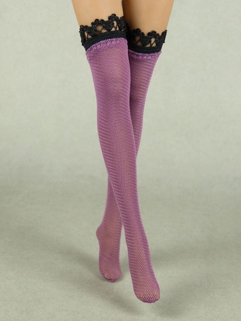 Vogue 1/6 Scale Female Purple Lace Pattern Fashion Stocking Image 2
