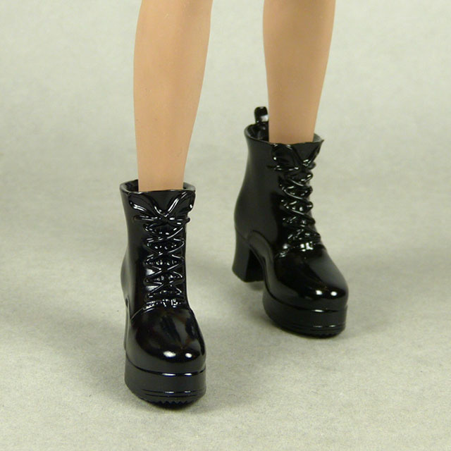 ZY Toys 1/6 Scale Female Glossy Black Motorcycle Heel Boots