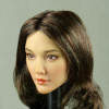 Cat Toys 1/6 Scale Female Asian Head Sculpt (Pale Tan) With Dark Brunette Long Wavy Hair