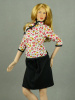 Super Duck 1/6 Scale Female Chinese Traditional Floral Top Cheongsam & Black Skirt Set