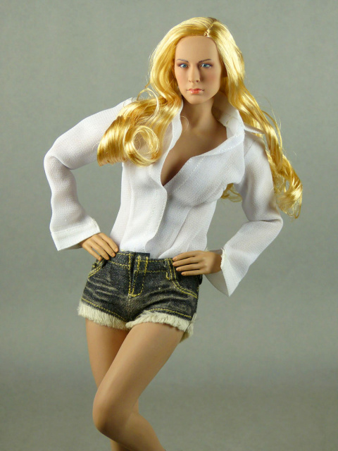 AC Play 1/6 Scale Female White Lowcut Blouse & Deep Blue Denim Hot Pants Set