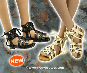 Nouveau Toys 1/6 Scale Female Gladiator Leather Strap Sandal Shoes Banner