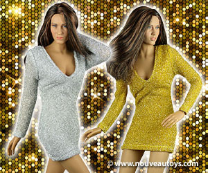 Nouveau Toys 1/6 Scale Female Gold & Silver Glittering Mini Party Dresses Banner