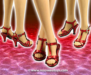 Nouveau Toys 1/6 Scale Red Metallic Strap High Heel Shoes Banner