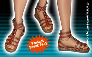 Nouveau Toys 1/6 Scale Feamle Brown Gladiator Leather Strap Sandal Shoes