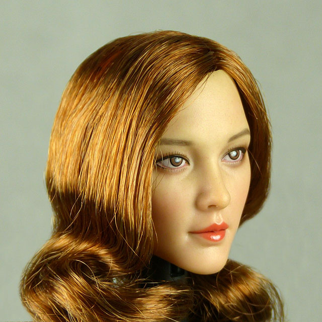 Cat Toys 1/6 Scale Female Asian Head Sculpt (Pale Tan) With Auburn Long Wavy Hair