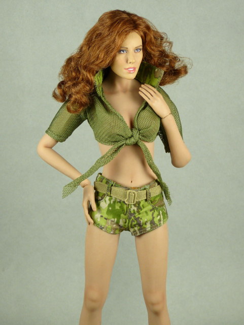 Fire Girl Toys 1/6 Scale Female Sexy Military Camouflage Set #1 (Olive Green Version)