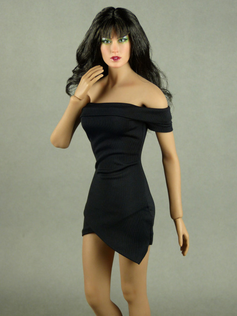 VorToys 1/6 Scale Female Sexy Black Off-Shoulder Mini Dress