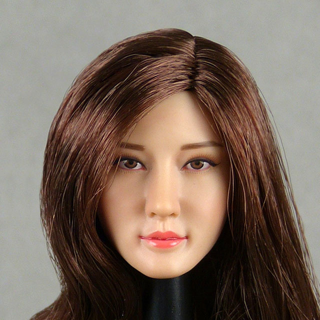 Flirty Girl 1/6 Scale Female Asian Head Sculpt (Pale Suntan) With Rooted Brunette Hair