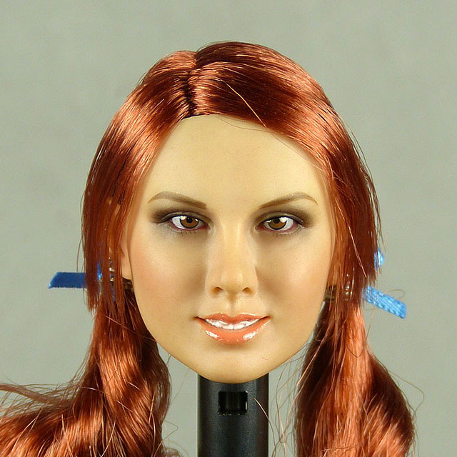 Flirty Girl 1/6 Scale Female Caucasian Head Sculpt (Suntan) With Rooted Red Pig Tails Hair
