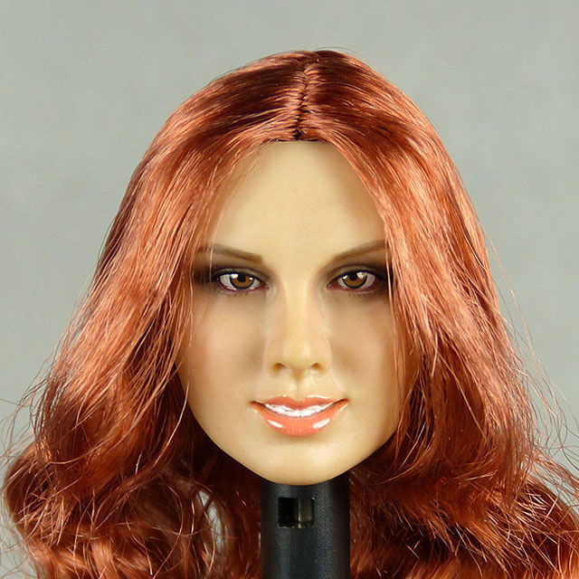 Flirty Girl 1/6 Scale Female Caucasian Head Sculpt (Suntan) With Rooted Red Long Hair