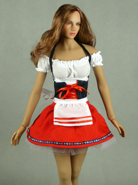 Flirty Girl 1/6 Scale Oktoberfest Beer Maid Uniform Set (Red)