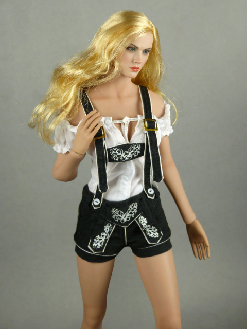Flirty Girl 1/6 Scale Female White Blouse & Black Shorts Lederhosen Uniform Set