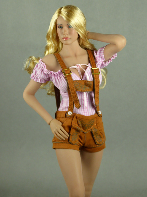 Flirty Girl 1/6 Scale Female Pink Stripes Blouse & Leather Brown Shorts Lederhosen Uniform Set