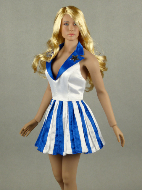 Flirty Girl 1/6 Scale Female USO Uniform White Top & Blue/White Stripes Skirt Dancer Dress Set#3