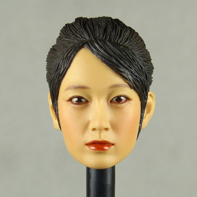 Kumik 1/6 Scale Female Head Sculpt Min Jun With Sculpted Hairpiece - K004B