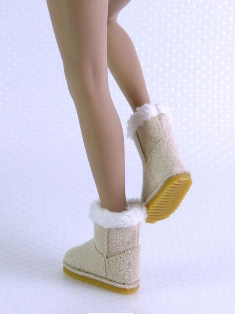 Nouveau Toys 1/6 Scale Female Beige Leather Skin Boots with Fur Trims