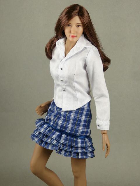 3c70ef0e8198 Nouveau Toys 1/6 Scale Female White Shirt & Blue Tartan Skirt Set