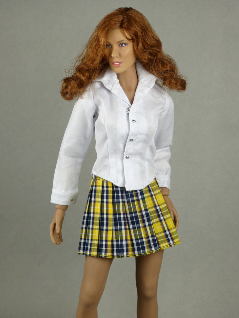 Nouveau Toys 1/6 Scale Female White Shirt & Yellow Plaid Skirt Set