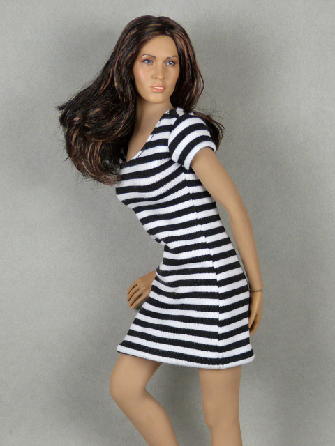 Nouveau Toys 1/6 Scale Female Black & White Stripes Mini Dress